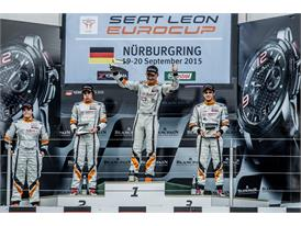 Andrina Gugger, Mauricio Hernandez, Stian Paulsen and Mikel Azcona on the podium at the Nürburgring after race 1
