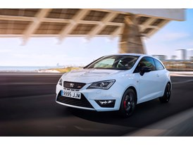 SEAT Ibiza CUPRA, exterior, dynamic shot, 3/4 front view