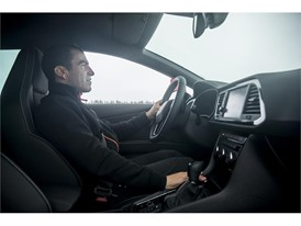 Car racer Jordi Gené tests the SEAT Leon CUPRA on a frozen lake in Lapland