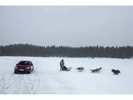 A sled pulled by six Alaskan and Siberian huskies mesures up against the Leon CUPRA, driven by racer Jordi Gené