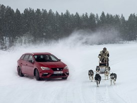 The endurance of the huskies and the power of the SEAT Leon CUPRA, driven by Jordi Gené, tested on a frozen lake