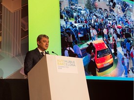 Luca de Meo, during his keynote speech at Automobile Barcelona