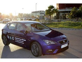 Barcelona Major Ada Colau and SEAT's President Luca de Meo arrive at Smart City Expo driving a CNG SEAT Leon