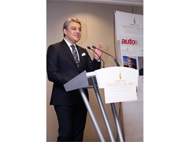 SEAT President Luca de Meo expresses words of appreciation after receiving the Executive of the Year award from AutoRevi