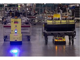 The AGVs have 360° perimeter vision and are able to detect people and obstacles in their path