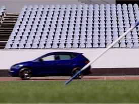 The SEAT Leon CUPRA is pitched against Olympic javelin champion and brand ambassador Barbora Špotáková