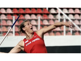 Barbora Špotáková's javelin leaves her hand at a speed of seven metres per second and flies almost undetected across the