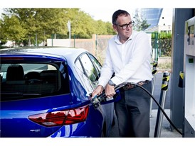 Antonio Calvo stops to refuel at this gas station in Toulouse, where he fills the tank with this alternative fuel