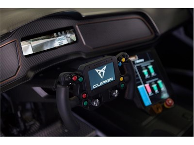 The steering wheel of the CUPRA e-Racer has a display panel to monitor and transfer a full range of vehicle performance