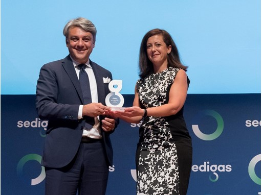 "Luca de Meo recieved the ""Energy and Sustainability"" award from Rosa María Sanz, president of Sedigas"