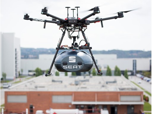 The drone connects the Sesé and SEAT facilities in only 15 minutes