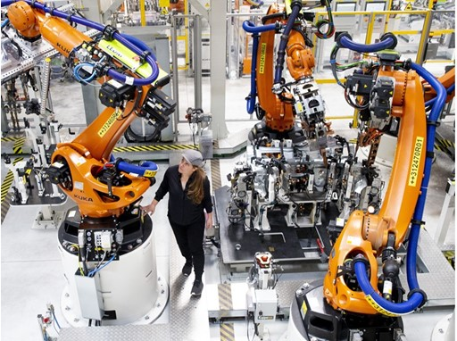 The factory's 2,000 robots operate in perfect synchronisation 24 hours a day