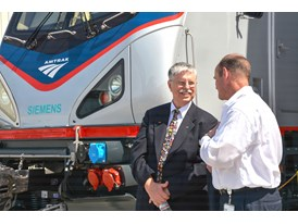 May 2013 Amtrak Cities Sprinter Unveil at Siemens Sacramento Rail Manufacturing Facility - Boardman and Cahill