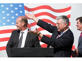 May 2013 Amtrak Cities Sprinter Unveil at Siemens Sacramento Rail Manufacturing Facility Cahill and Boardman at ceremony