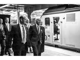 February 2014 - Vice President Joe Biden walks with Michael Cahill of Siemens at ACS-64 Cities Sprinter Debut