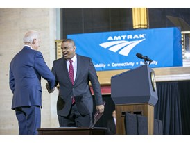 February 2014 - Sec. of Transportation Anthony Fox at the debut of the Amtrak Siemens ACS-64 Cities Sprinter (Amtrak)