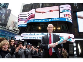 Siemens Healthcare CEO Dr. Greg Sorensen celebrates the kickoff of The Baton Pass™ in Times Square 3/19/14