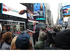 Siemens Healthcare CEO Dr. Greg Sorensen speaks at the kickoff of The Baton Pass™ in Times Square 3/19/14