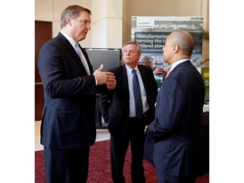 Eric Spiegel, Pres. & CEO Siemens USA, Chuck Grindstaff CEO Siemens PLM Software and Mass. Gov. Deval Patrick 4/16/14
