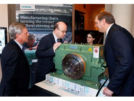 Eric Spiegel, Pres. & CEO Siemens USA, right, Chuck Grindstaff CEO Siemens PLM Software and Gov. Deval Patrick 4/16/14