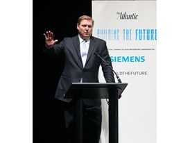 Eric Spiegel, President & CEO Siemens USA, speaks in Worcester, Mass.  4/16/14