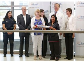 Speakers on-stage at UF-Orlando Health Cancer Center during the Siemens SU2C Orlando Baton Pass event.  6/12/14
