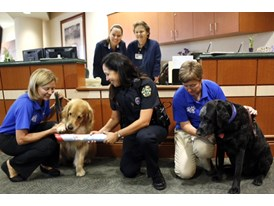 OPD's Karen Long and therapy dogs at UF-Orlando Health at the Siemens SU2C Orlando Baton Pass event 6/12/14