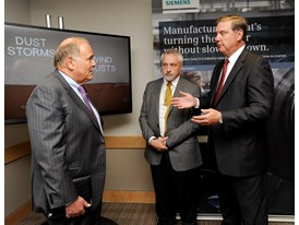 Ed Rendell, former Pennsylvania Gov. with Eric Spiegel, Siemens USA CEO & Bill Boswell, of Siemens PLM 7/16/14