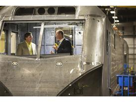 All Aboard Florida's Myles Tobin and Siemens' Michael Cahill visit train facility in Sacramento, CA 9/11/14