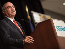Charlotte mayor Dan Clodfelter speaks during an event at the Siemens Charlotte Energy Hub in Charlotte, NC 9/24/14