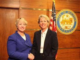 Lisa Davis, member of the Managing Board of Siemens AG, meets with Houston Mayor Annise Parker, Houston City Hall 4/6/15