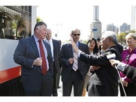 SFMTA's John Haley, Michael Cahill of Siemens, SFMTA's Edward Reiskin and San Francisco Mayor Ed Lee 6/16/15