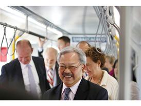 San Francisco Mayor Ed Lee visits the Siemens mock-up 6/16/15