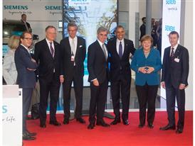 President Obama and German Chancellor Merkel visiting the Siemens booth at Hannover Messe 2016