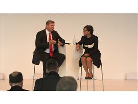 Commerce Secretary Penny Pritzker and Siemens USA President and CEO Eric Spiegel at Hannover Messe 2016