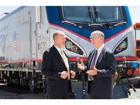 Siemens Rolling Stock President Michael Cahill and Amtrak President and CEO Joseph Boardman