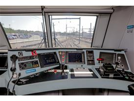 View of the console inside Amtrak locomotive 670