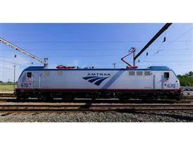 Amtrak locomotive 670 at Ivy City maintenance facility, Washington, D.C.