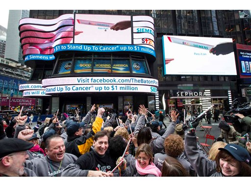 Siemens' and Stand Up To Cancer kick off The Baton Pass™ in Times Square 3/19/14