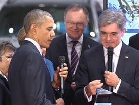 President Obama visits Siemens Booth at Hannover Messe BRoll