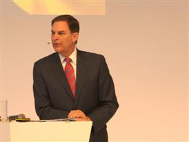 Jay Timmons, President & CEO, National Association of Manufacturers, talks at Hannover Messe about Siemens being partner