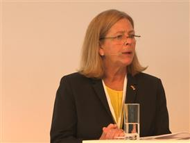 Anne Cooney, President, Process Industries and Drives Division, Siemens USA, speaks at Hannover Messe
