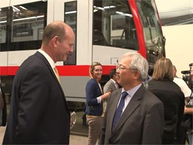 SF Mayor Ed Lee Gets Peak at New Siemens MUNI Light Rail Vehicle 8/29/16