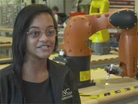 Shay Griffin, THINC College and Career Academy Student, on working with robots