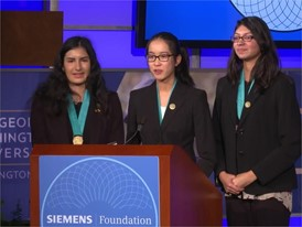 Jillian Parker, Jiachen Lee and Arooba Ahmed: 2017 Siemens Competition Team Winners