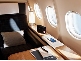 The First Class seats of the first SWISS Airbus A340 with a refurbished interior