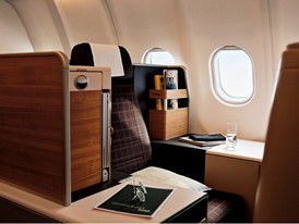 The Business Class seats of the first SWISS Airbus A340 with a refurbished interior