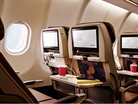 The Economy Class seats of the first SWISS Airbus A340 with a refurbished interior