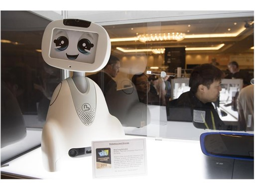 A Blue Frog Robotics robot is featured during the first day of CES