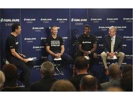 Pedro Pinto, Managing Director of Communications for UEFA; Aleksander Čeferin, UEFA President; Paul Pogba; and Eddie, a